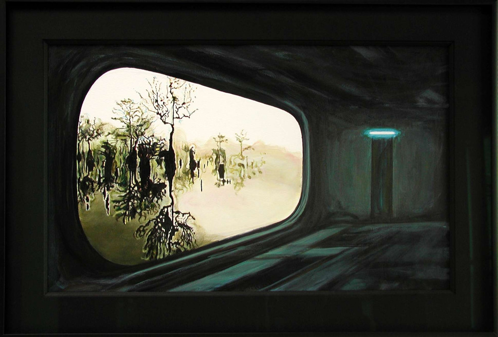 Hideaway, 2007, 41.5 x 60.5 x 3.5cm,  acrylic and graphite on paper (framed)