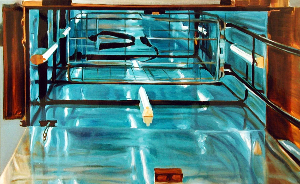 Cage, 1997,  oil on linen, 36.5 x 80cm