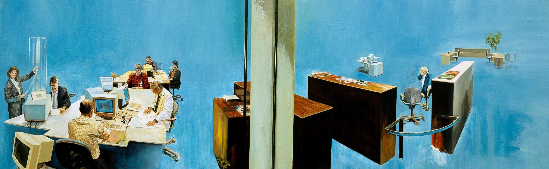 Solution, 1995, oil on linen, 140 x 450cm