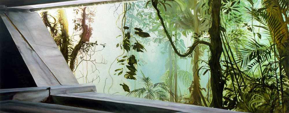 Bunker, 2001,  oil on linen, 185 x 460cm,